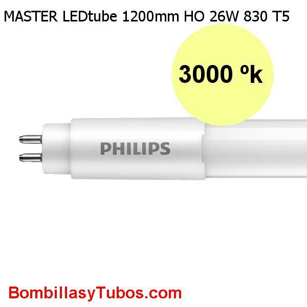 Tubo T5 LED Philips 120cm HO 26w 3600lm 3000k.Reemplazo 49w - Fluorescente led T5 Philips  HO Alta flujo 26w 3600 lm color 830. Reemplazo del tubo de 49w. Solo funciona directo a red