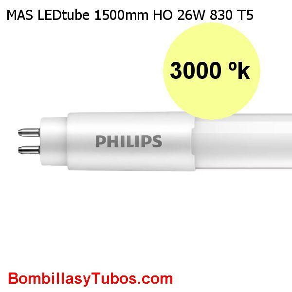 Tubo T5 LED Philips 150cm HO 26w 3600lm 3000k. Reemplazo 49w - Fluorescente led T5 Philips  HO Alto flujo 26w 3600 lm color 830. Reemplazo del tubo de 54w. Solo funciona directo a red