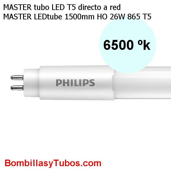 Tubo T5 LED Philips 150cm HO 26w 3900lm 6500k. Directo a red - Fluorescente led T5 Philips  HO Alto flujo 26w 3900 lm color 865. Reemplazo del tubo de 54w. Solo funciona directo a red