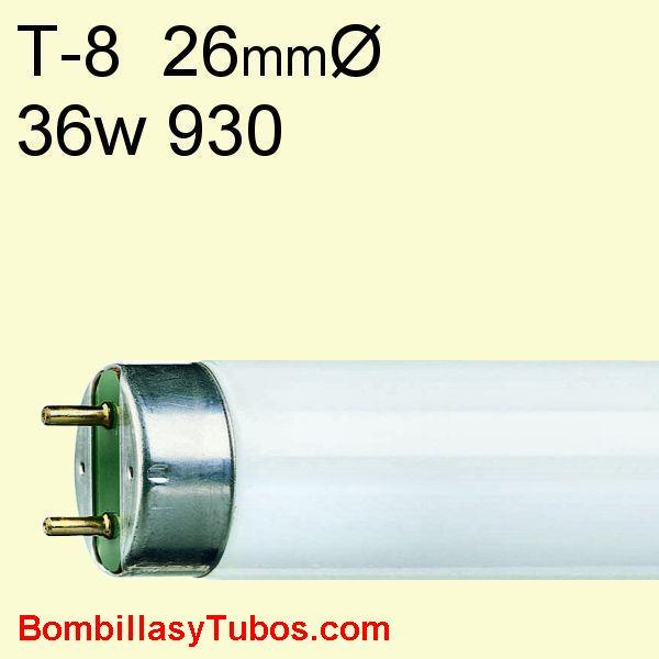 FLUORESCENTE T8 36w/930 - MASTER TL-D 36w/930  temp. color: 3000k (calido)  referencias:lumilux de lux t8 fh. fh  he, master tl 8 he, luxline t8, bonalux t8
