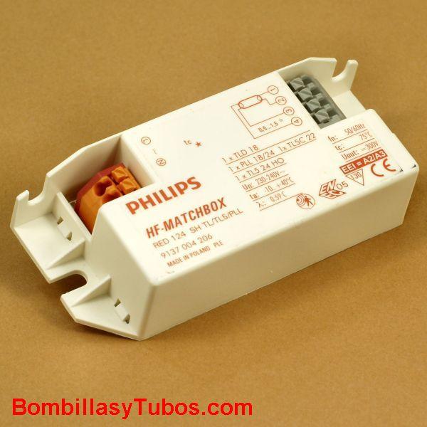 Philips HF-M 124 SH ROJO - BALASTO HF-MATCHBOX ROJO  HF-M 124 SH ROJO  Para lampara pl-l. dulux-l 18/24w  Para tubo 18w,t5 circular 22w, t5 24w  Codigo: 91040030  Medidas: 80x40x22mm  se recomienda su uso en instalaciones  con  encendidos y apagados frec