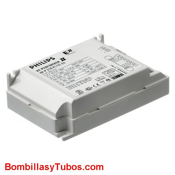 Philips HF-P 2 22-42 PL-L E II - BALASTO HF-P PERFORMER PL-L  HF-P 2 22-42 PL-L E II  Para 2 lamparas pl-l. dulux-l 18/24w,   Para pl-c,pl-t,dulux-d,dulux-t 26w-42w  Para 2 tl5c 22w-40w  Medidas: 123x79x33mm  Codigo: 91399930, 913999xx, 913999