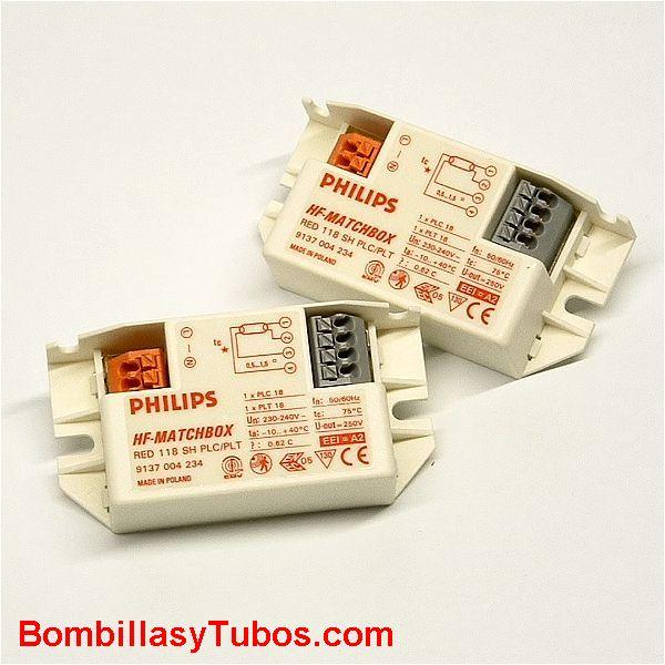 Philips balasto HF-M 118 SH ROJO - BALASTO HF-MATCHBOX ROJO  HF-M 118 SH ROJO  Para lampara pl-c. pl-t, dulux-d, dulux.t 18w  Codigo: 92802330  Medidas: 80x40x22mm  se recomienda su uso en instalaciones  con  encendidos y apagados frecuentes