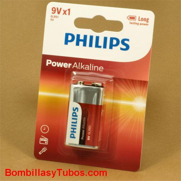 Pila Philips alcalinas 6F22- 6LR61 9v  - Power Alkaline