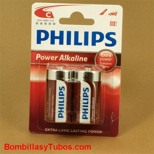 Pilas Philips alcalinas LR14-C Power Alkaline
