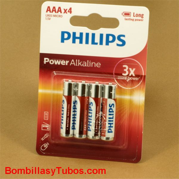 Pilas Philips alcalinas LR03-AAA Power Alkaline
