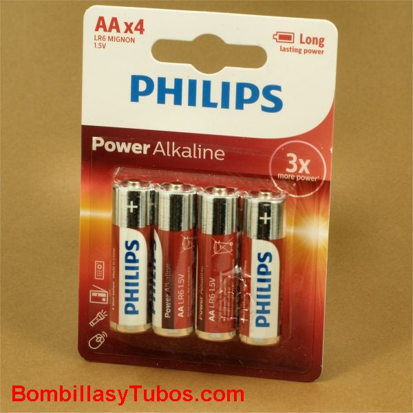 Pilas Philips alcalinas LR6-AA Power Alkaline