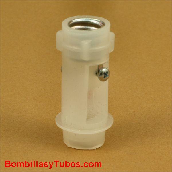 Portalamparas rosca E14 5cm para instalación interior en velones - Portalamparas plastico para instalacion en interior de velones en lámparas clasicas de brazos. Rosca E14