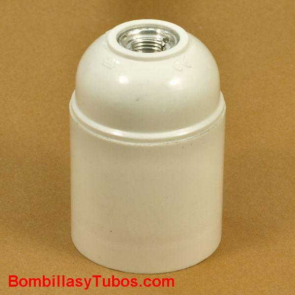 Portalamparas rosca E27  exterior liso color blanco