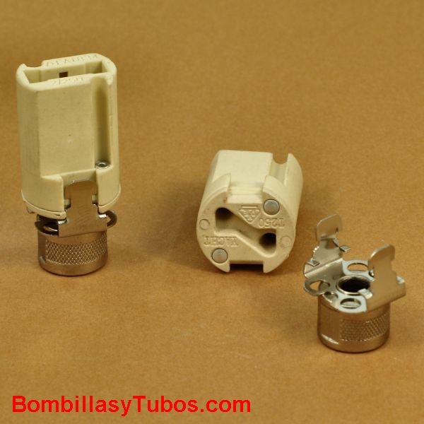 Portalamparas G9 ceramica y racord acero con rosca 10mm - Portalamparas G9  con racord de acero. Conexión cables a presion