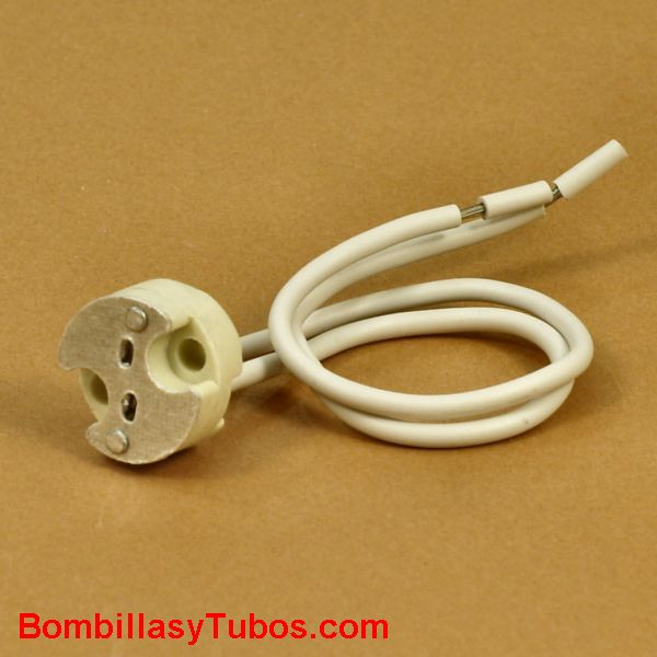 PORTALAMPARAS HALOGENO G6.35 SENCILLO - PORTALAMPARAS HALÓGENO G.6.35 SENCILLO  cable de silicona y cuerpo ceramico   válido para lámparas bipin y dicroicas   longitud de cable: 15cm
