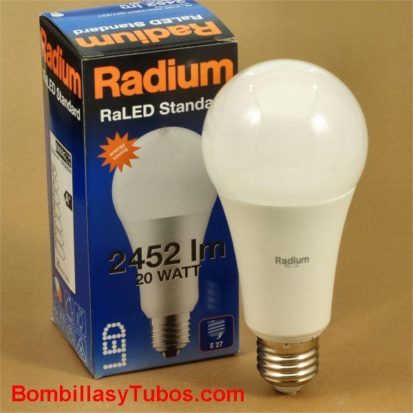 Radium estándar led 20w-150w 827 - Lampara led formato estándar 20w--150w 2452 lumenes 2700k